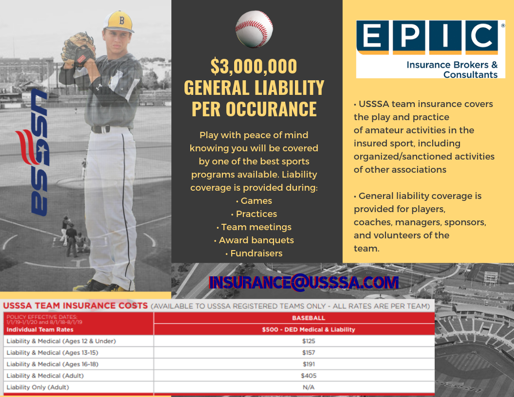 Play with peace of mind knowing you will be covered by one of the best sports programs available. Liability coverage is provided during Games Practices Team meetings